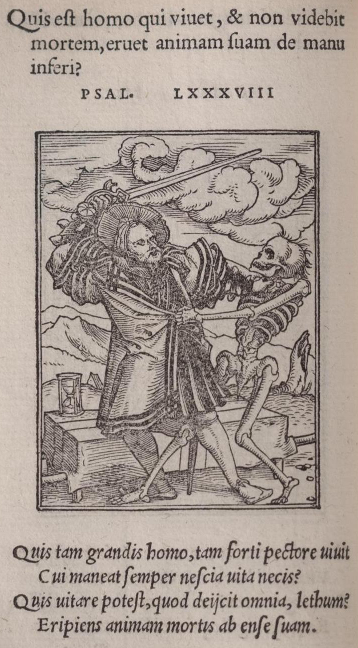 Hans holbein dance of death but the coffin lying at his feet is an obvious symbol for the outcome of the duel death easily transfixes the knight with his own spear buycottarizona Images