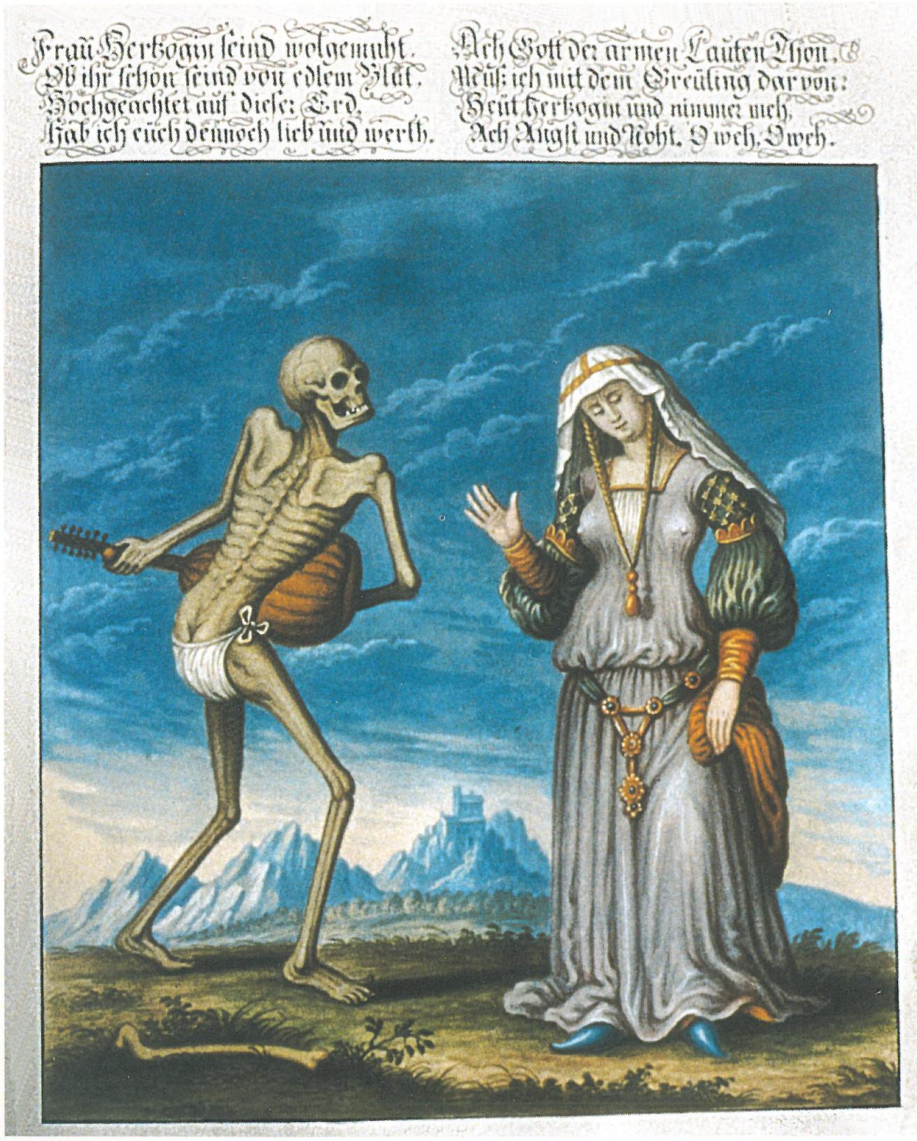 24b5576c546 1805  Destruction de la danse macabre. Des citoyens en récupèrent 26  fragments (23 images et 3 textes). 1806  Reproduction en aquarelle de  Rudolf Feyerabend ...